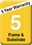 5 year frame and substrate warranty